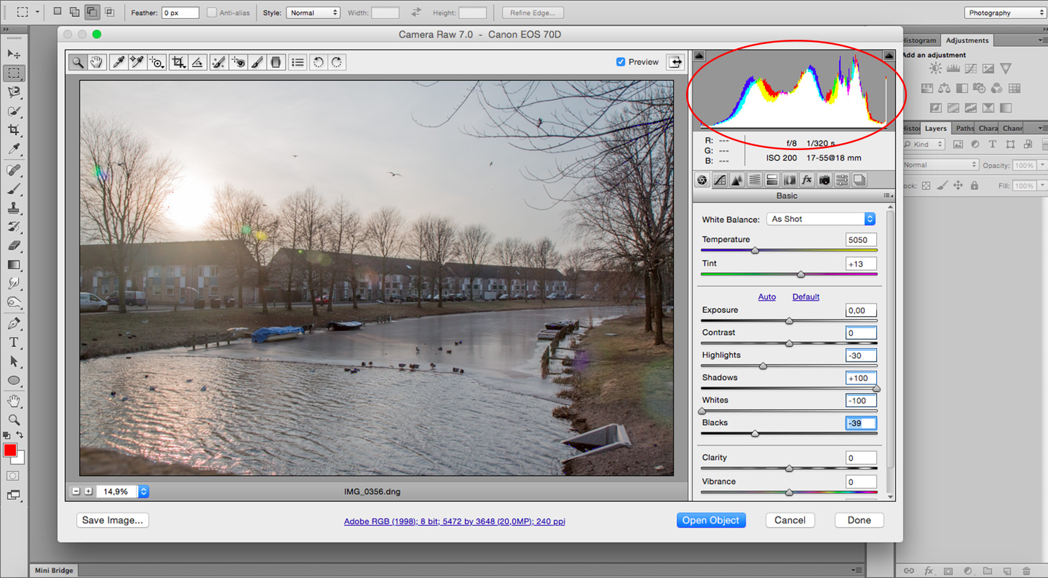 Balance Exposure in Adobe Camera Raw to Improve Your Photographs - Histogram
