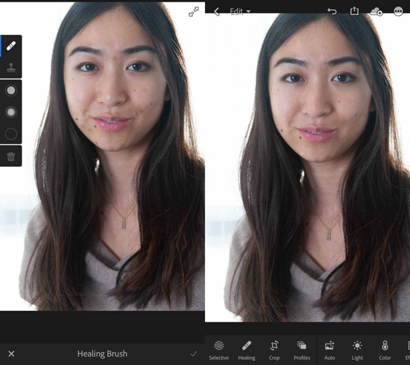 Image: Before and after images using the Healing Brush in Lightroom Mobile.