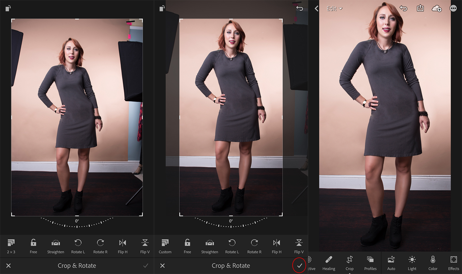 Image: Using Lightroom Mobile, drag borders with your fingers and click the checkmark to finished wh...