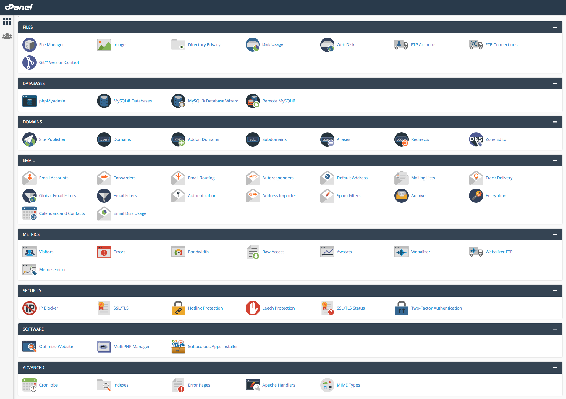 A screenshot showing the options available on CPanel