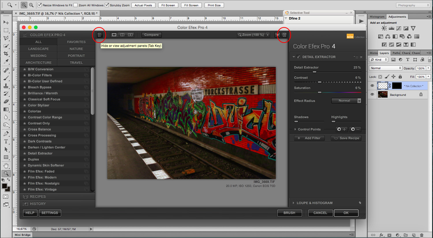 5 - How to Use the NIK Filter Collection with Photoshop - hide panels
