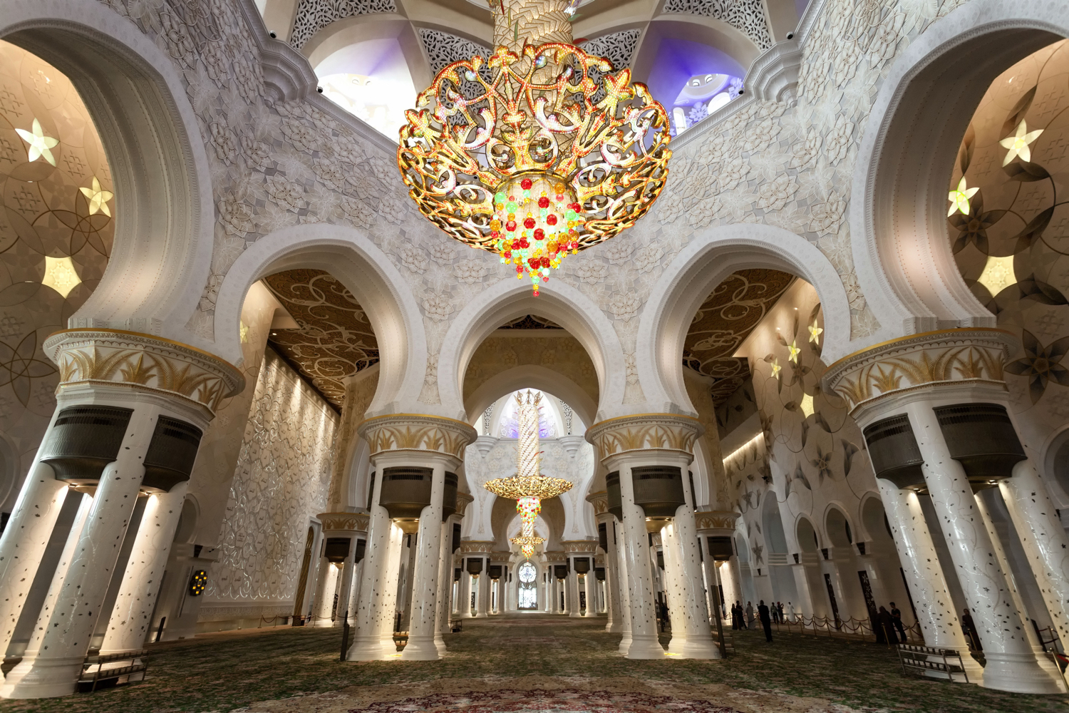 Image: The interior of the grand mosque in Abu Dhabi. This requires a wide-angle lens to capture how...
