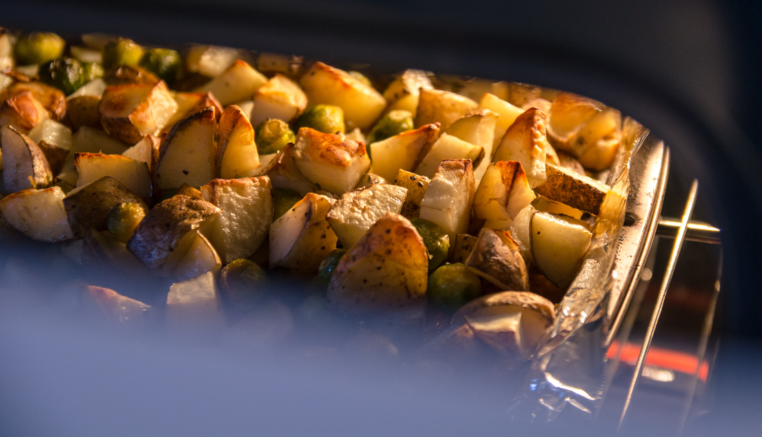 Image: This food was photographed while still in the oven. The warm backlight is coming from the ove...