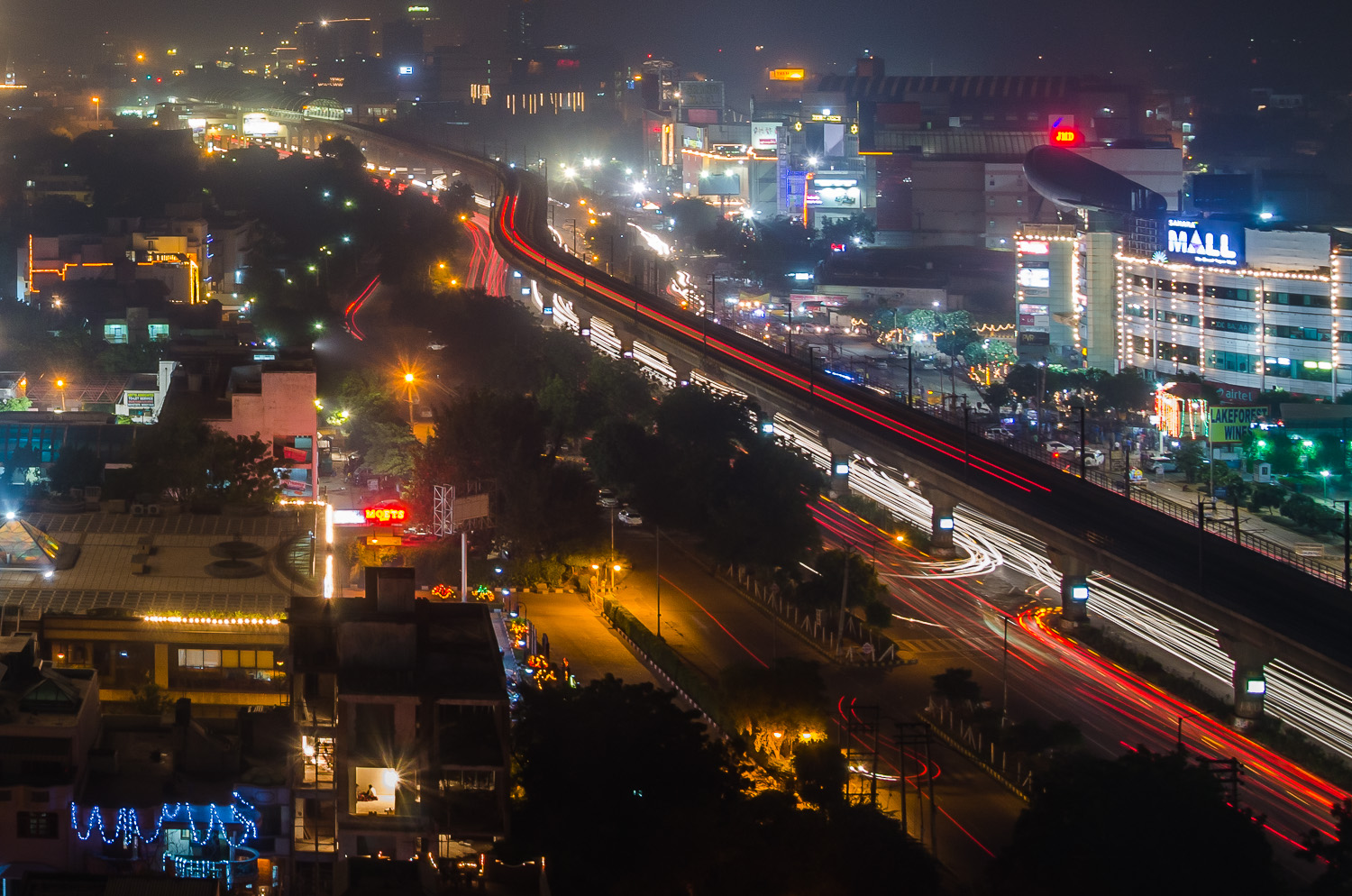 Image: This image of the Gurgaon Metro was taken in the night on one of the busiest streets of the c...