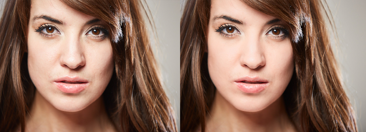 A comparison of before and after skin reoutching in Capture One
