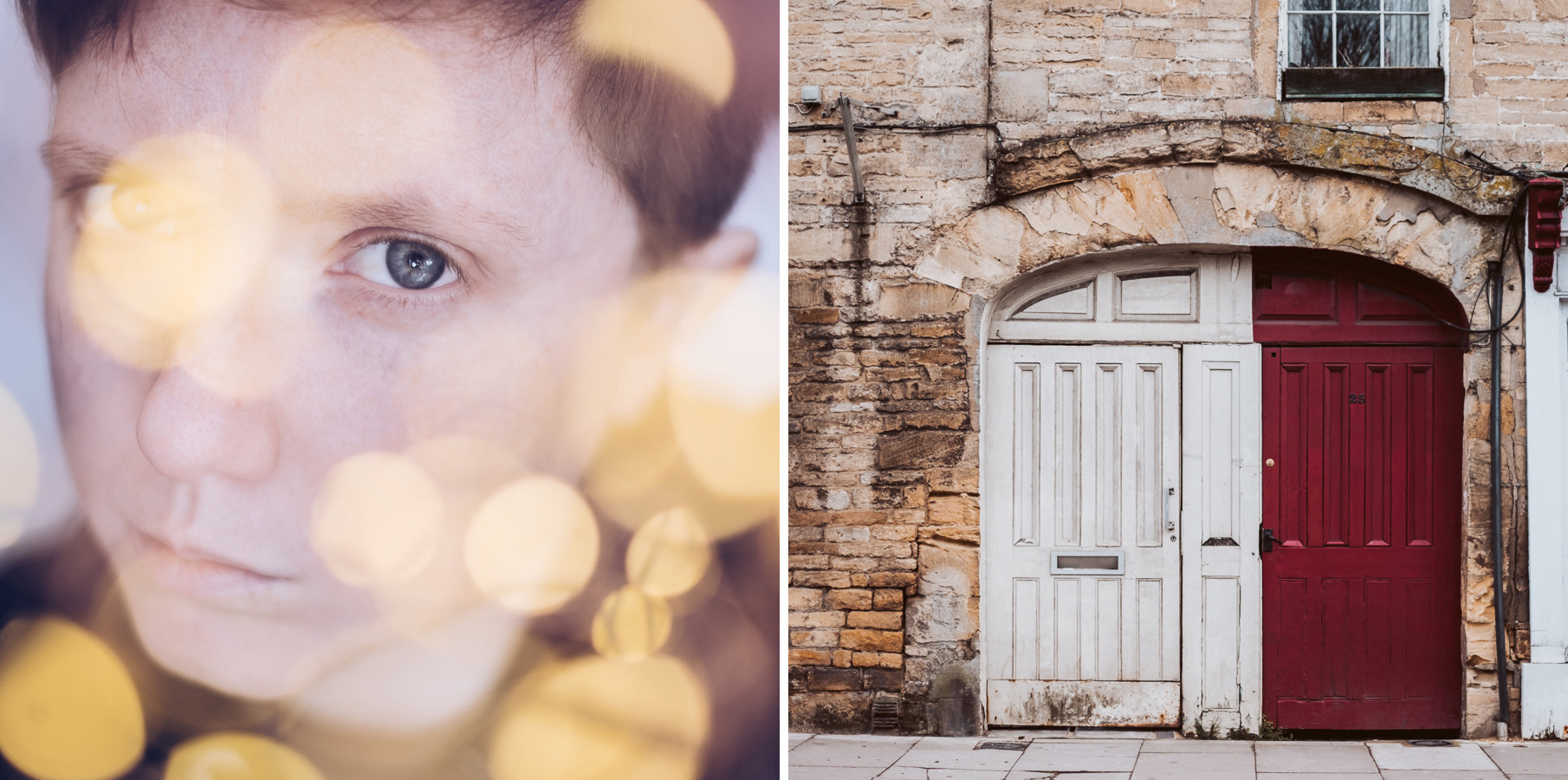 Two images. One is a self-portrait with out-of-focus fairy lights. The other is a white and red doorway. 7 - Can New Gear Kickstart Your Photography - Charlie Moss