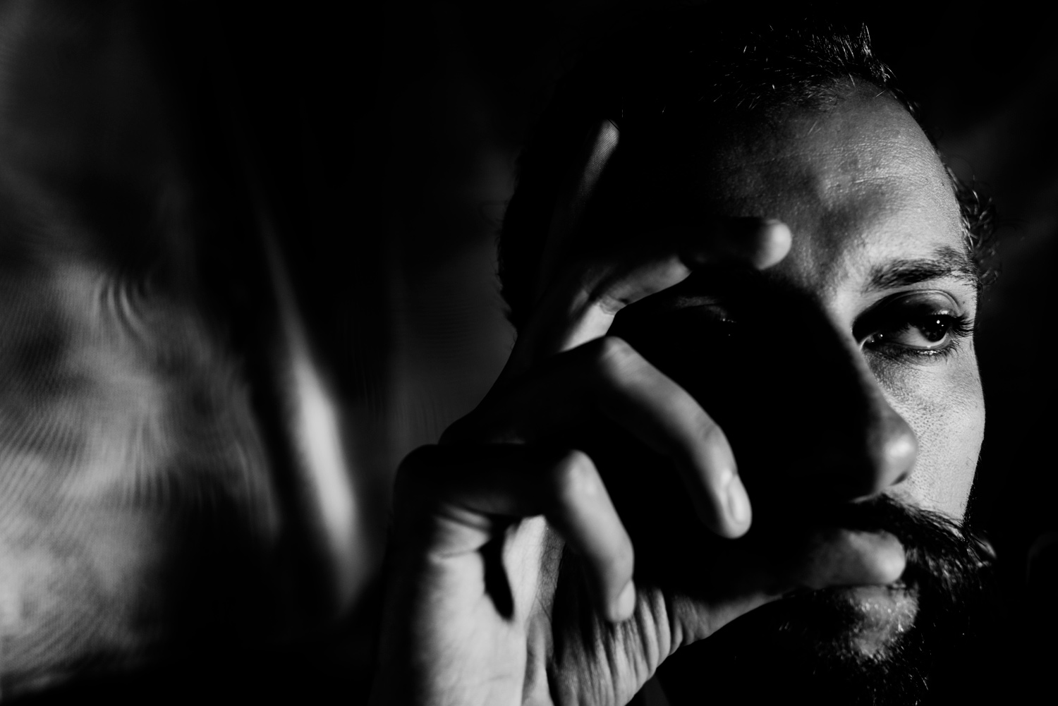 Experimenting with Low Key Black and White Photography Dark Male Portrait