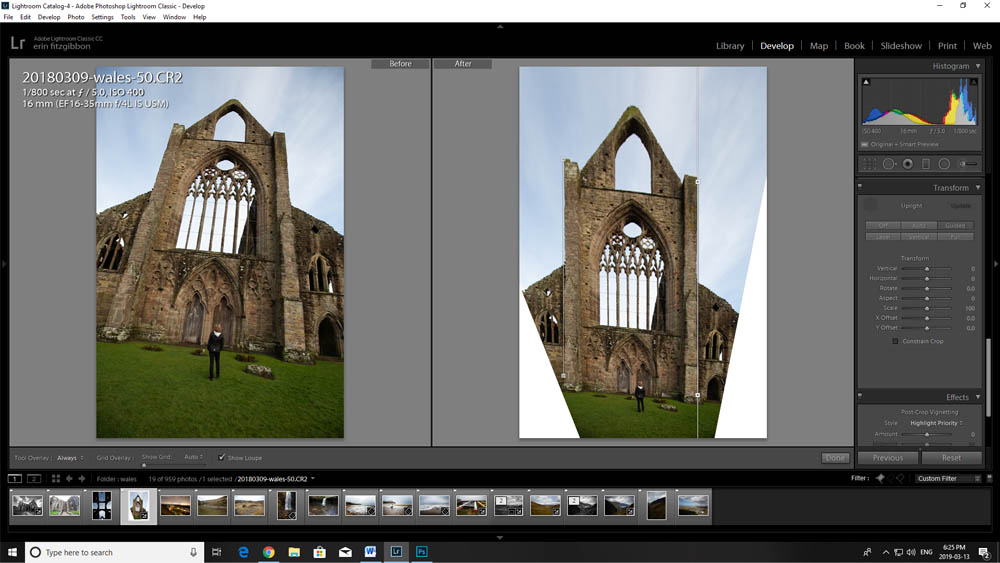 Image: In this case, the Guided Tool straightens the lines I highlight but the required crop is rath...