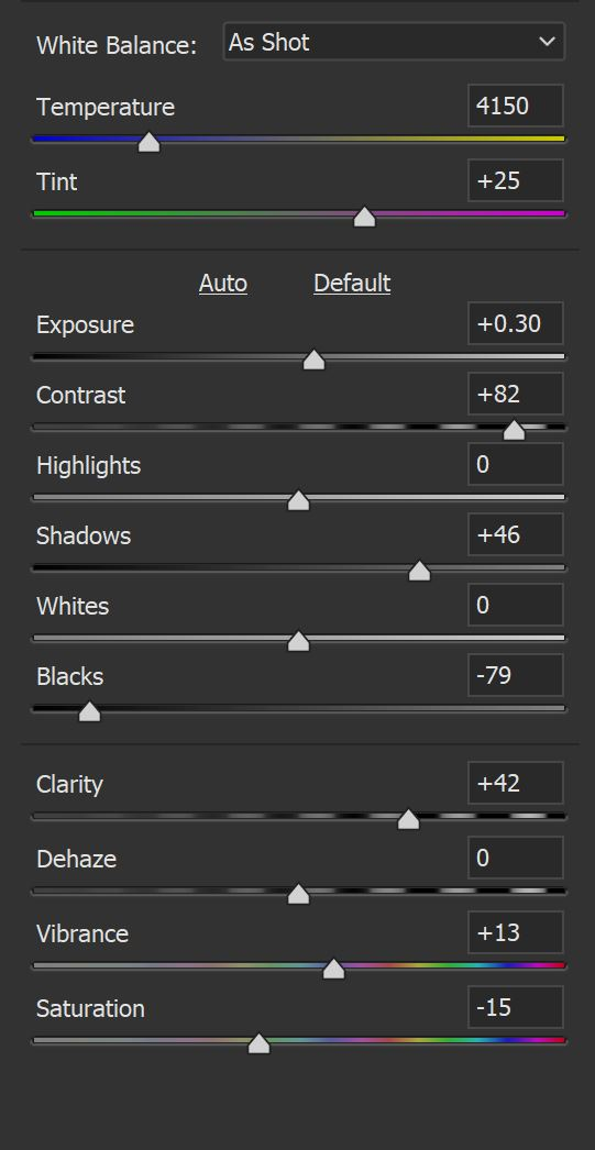 Image: Adjustments for the effect