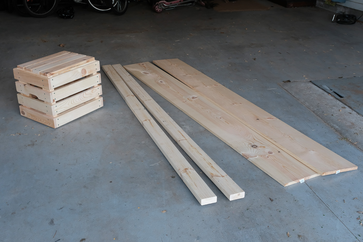 Image: The boards on the right, plus some screws, are all you need to build the bench on the left. I...