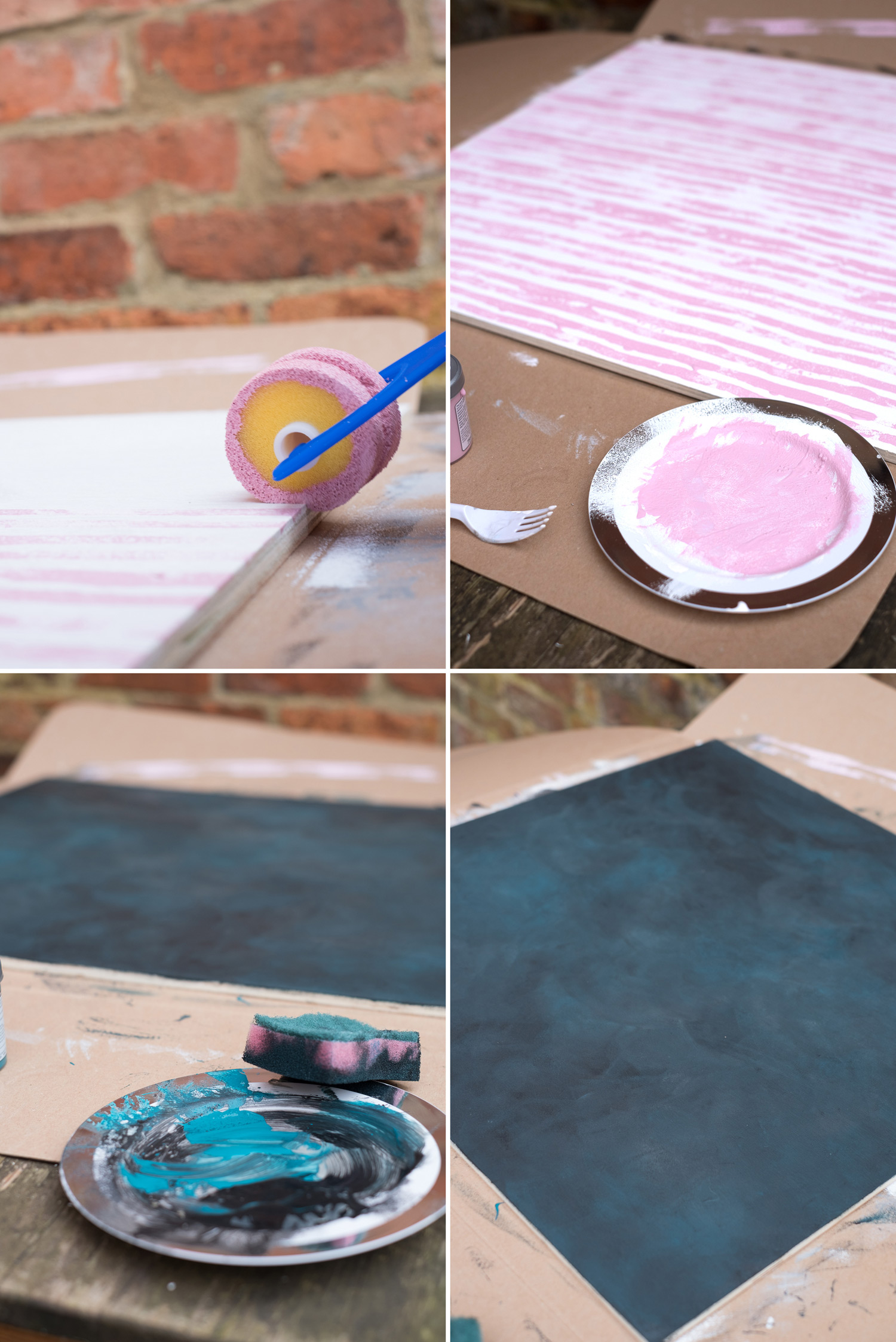 Image: Top: pink stripes created with a child's foam painting roller. Bottom: blue, black, and grey...