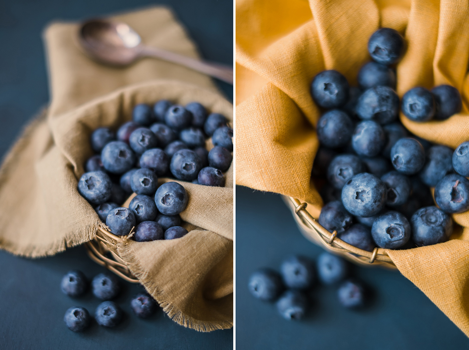 Image: Two different colours of linen fabric used for food styling. Consider the mood of your final...