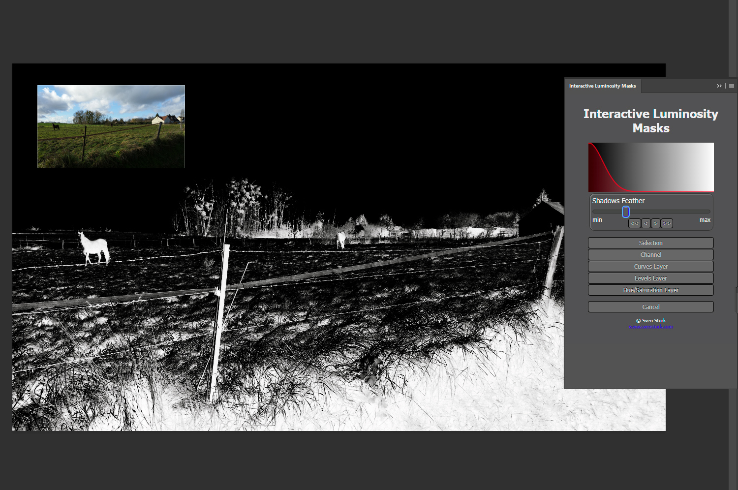Using a luminosity mask in Photoshop - free extension