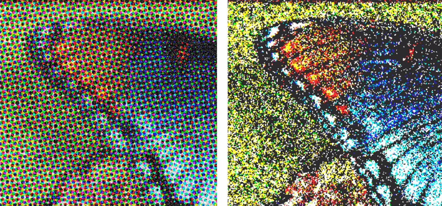Image: Dot structure of halftone images (left) and color dither pattern (right).