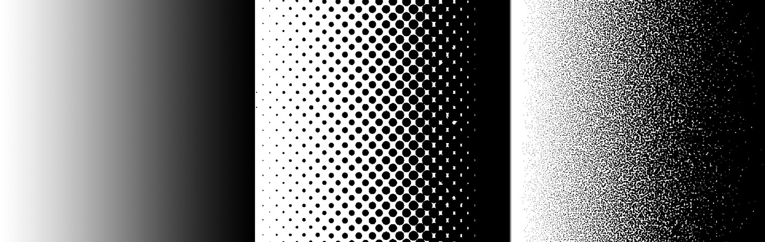 Image: Each printing process utilizes a unique pattern to express the variable tones between solid a...