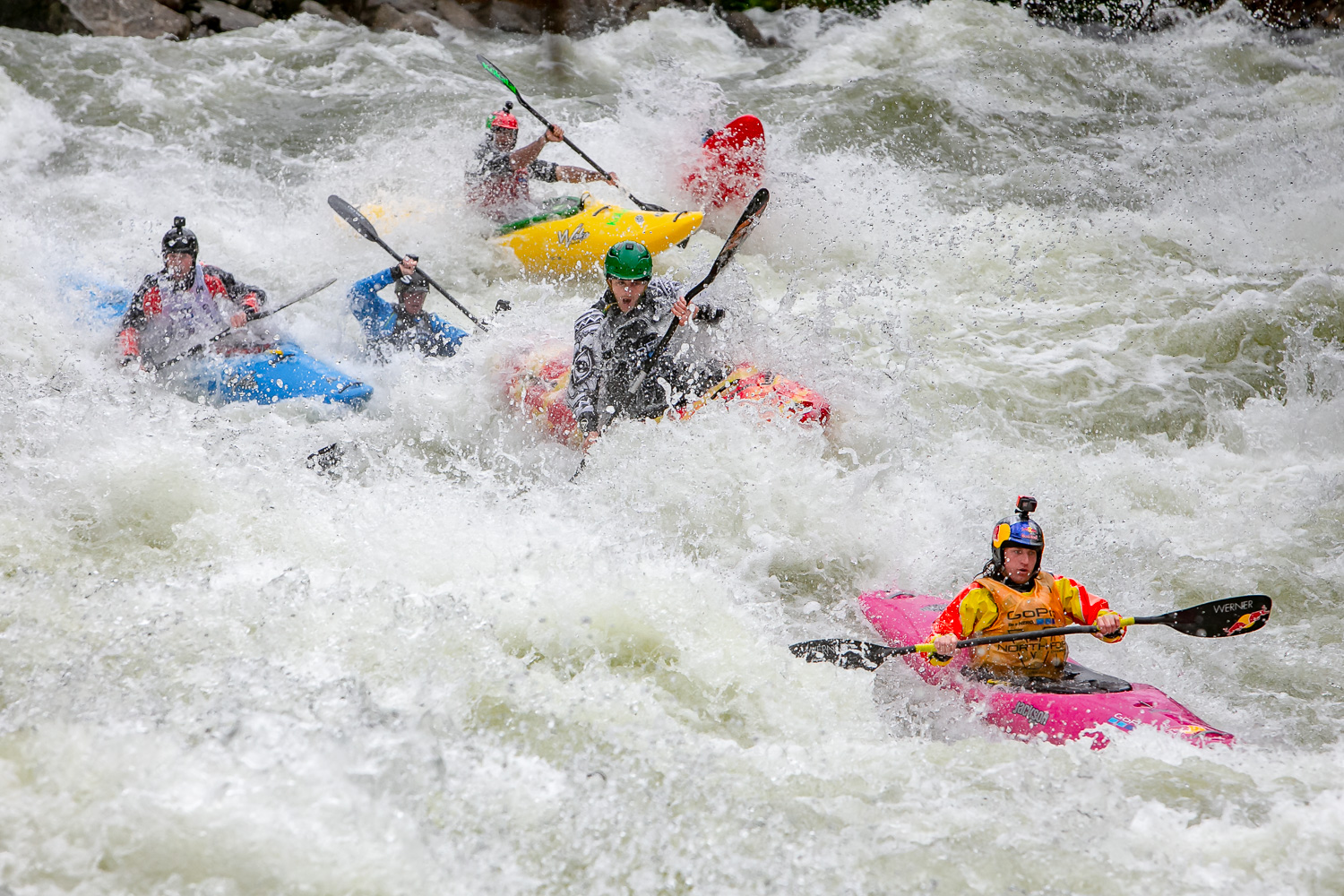 Image: A mixed-light day with the kayakers moving from sun to shade, and fast action. With the need...