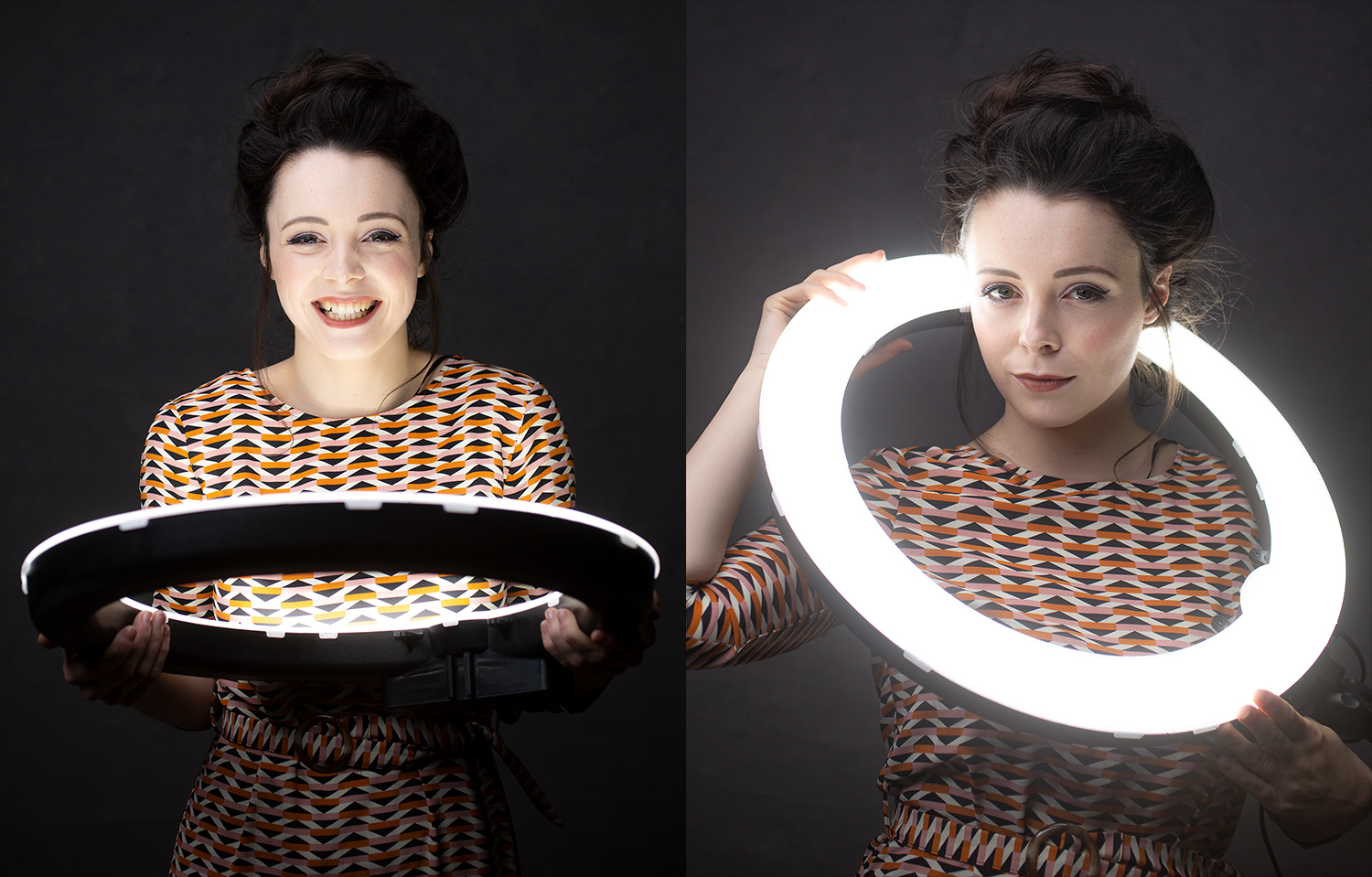 woman posing with ring lights as a prop