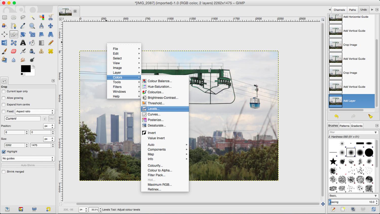 Basic Photo Retouching in GIMP. Color Adjustment tools