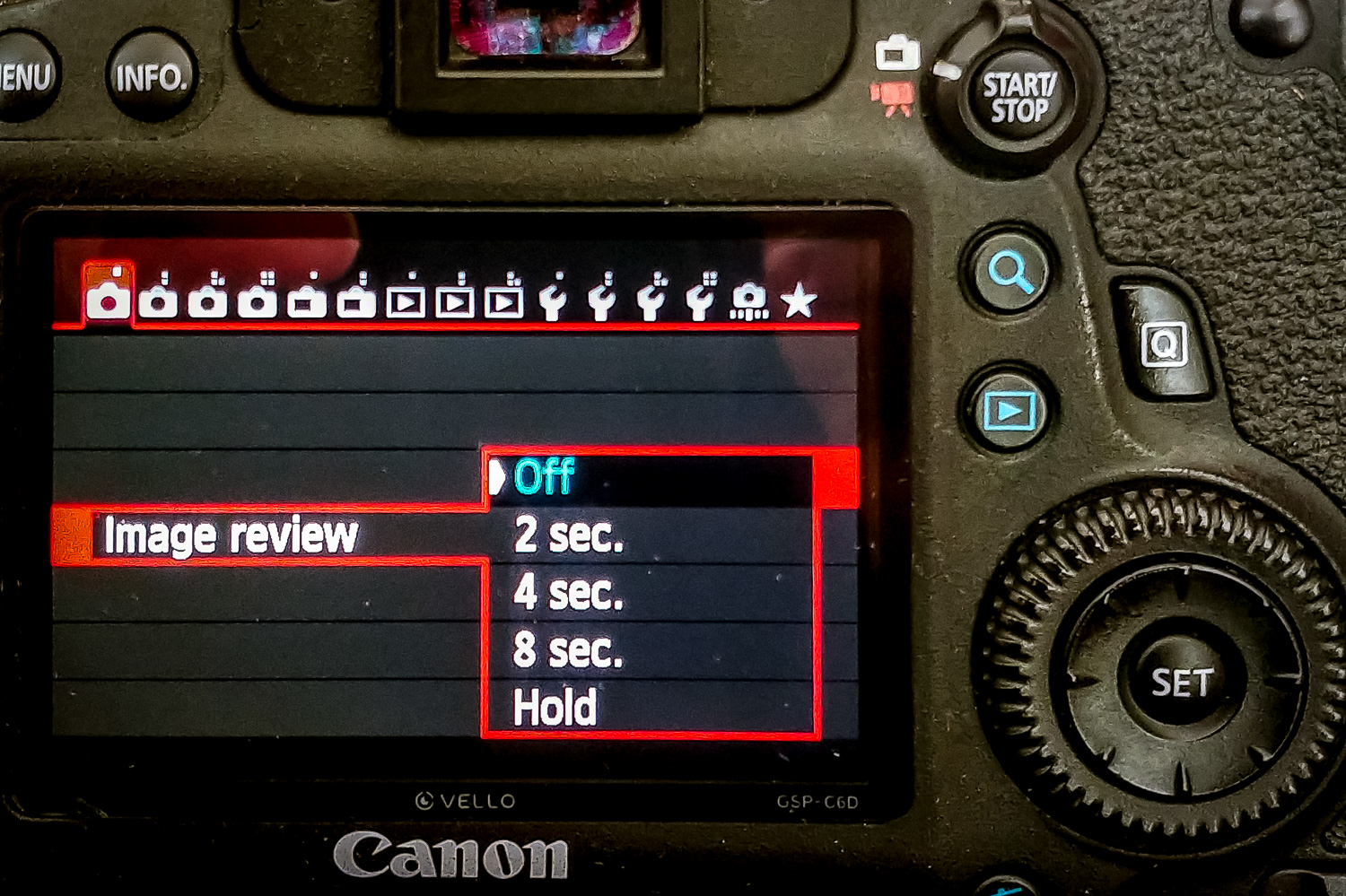 """Image: If you set your Image Review to """"Off"""", the photo will not be displayed in the LCD..."""