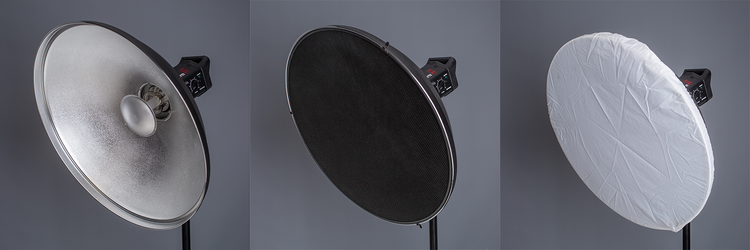 Image: This image shows an unmodified beauty dish on the left. A gridded beauty dish in the middle,...