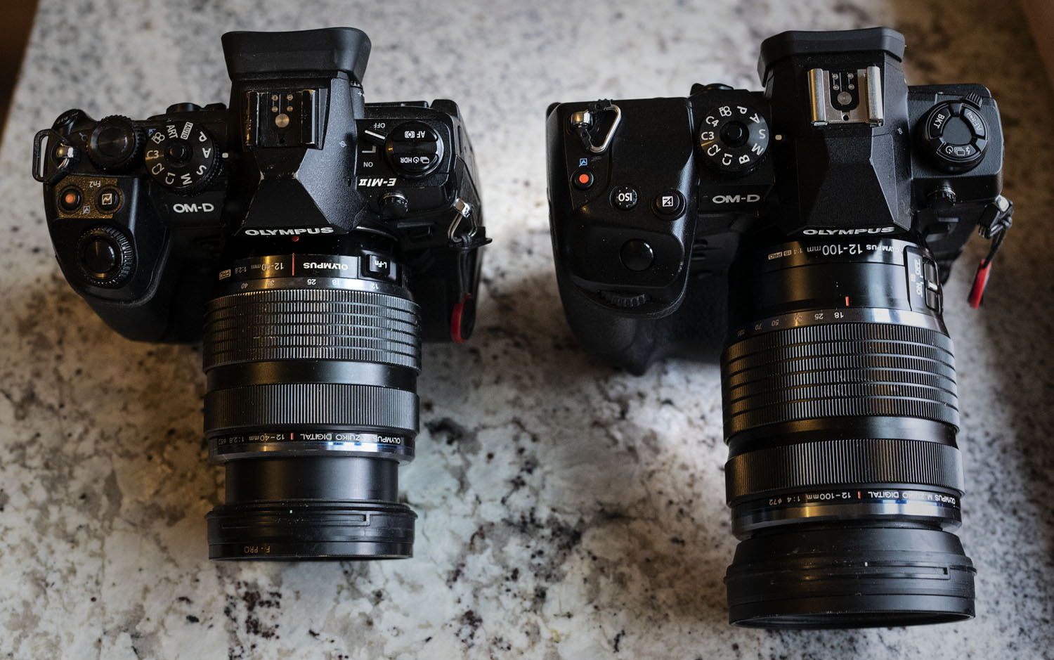 Image: Compared to the EM1 Mark II, the EM1X is only slightly bigger (the lens on the right is also...