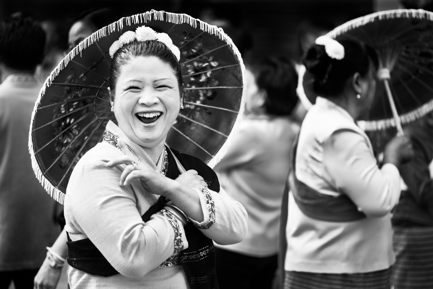 Laughing Lady with umbrella
