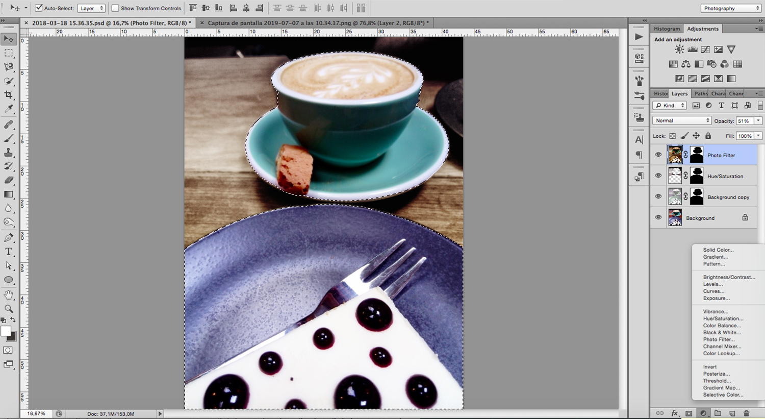 Image: Photoshop have many adjustment layers to choose how you want to change your backdrop in food...
