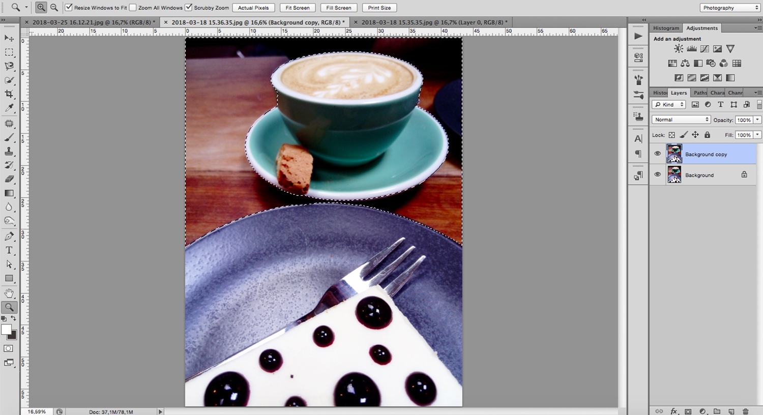 Image: use the Photoshop selection tools to change your background without affecting your subject