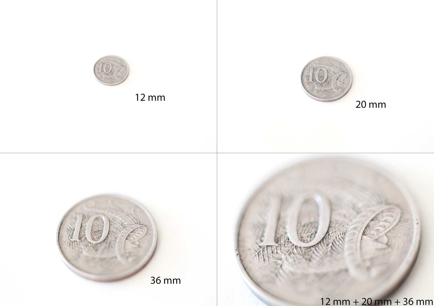 comparison extension tubes with a coin