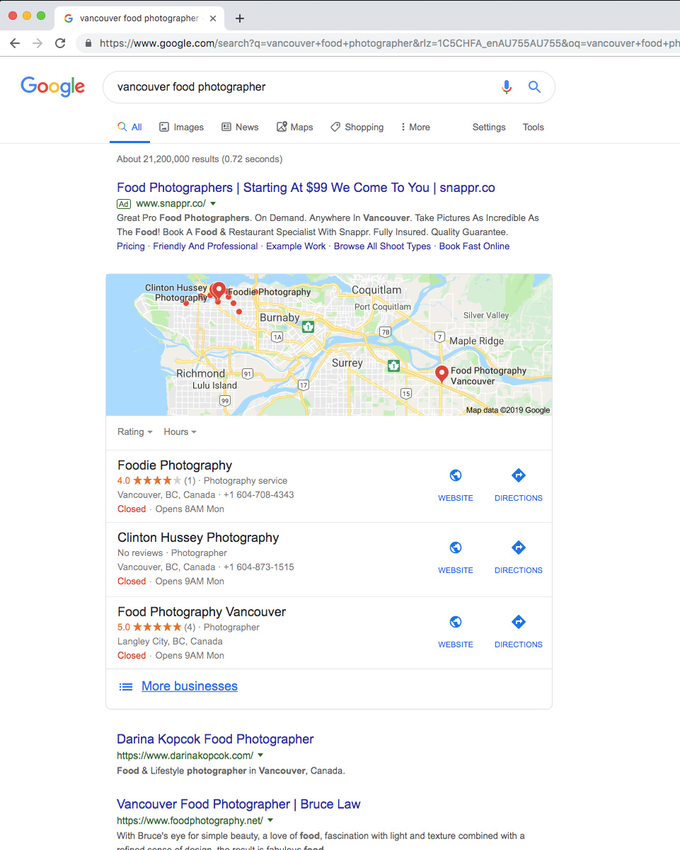 Image: when Google returns results that have a geographical component, the Google Maps pack gives priority ...