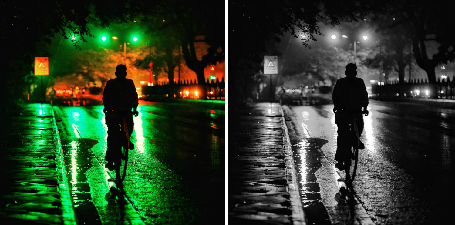 Image: The colors in the image on the left are much more appealing as compared to the monochrome ima...