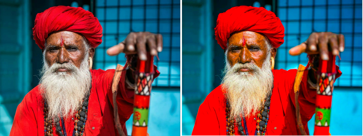 Image: The image on the right has way too much saturation, as can be clearly seen on the face.