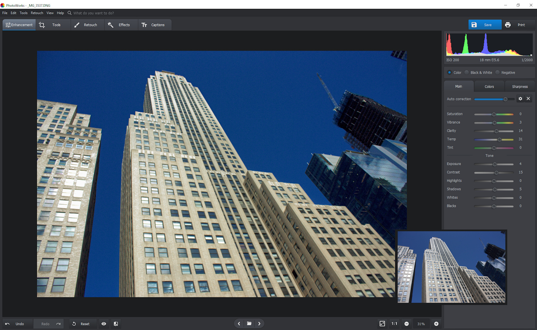 PhotoWorks image enhancement