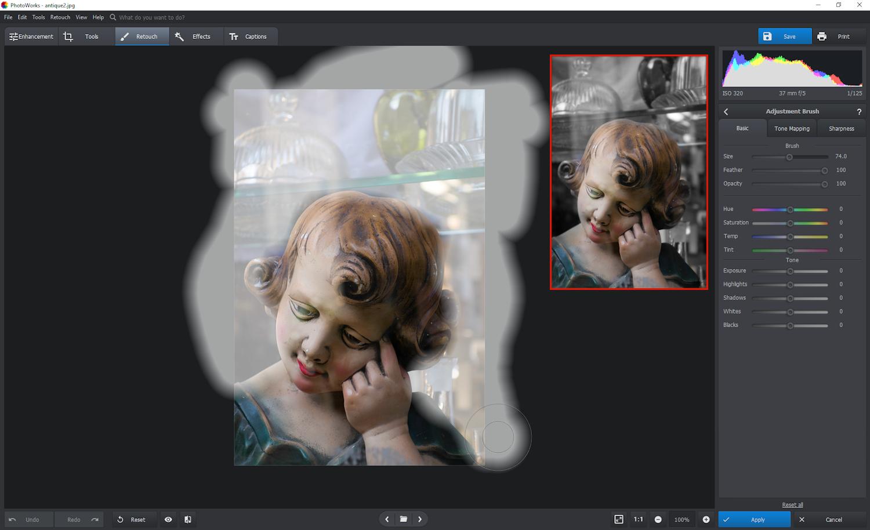 PhotoWorks - adjustment brush