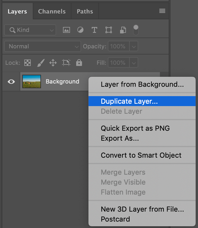 Image: Always work on a copy of the background layer so you can revert to it if you need to.