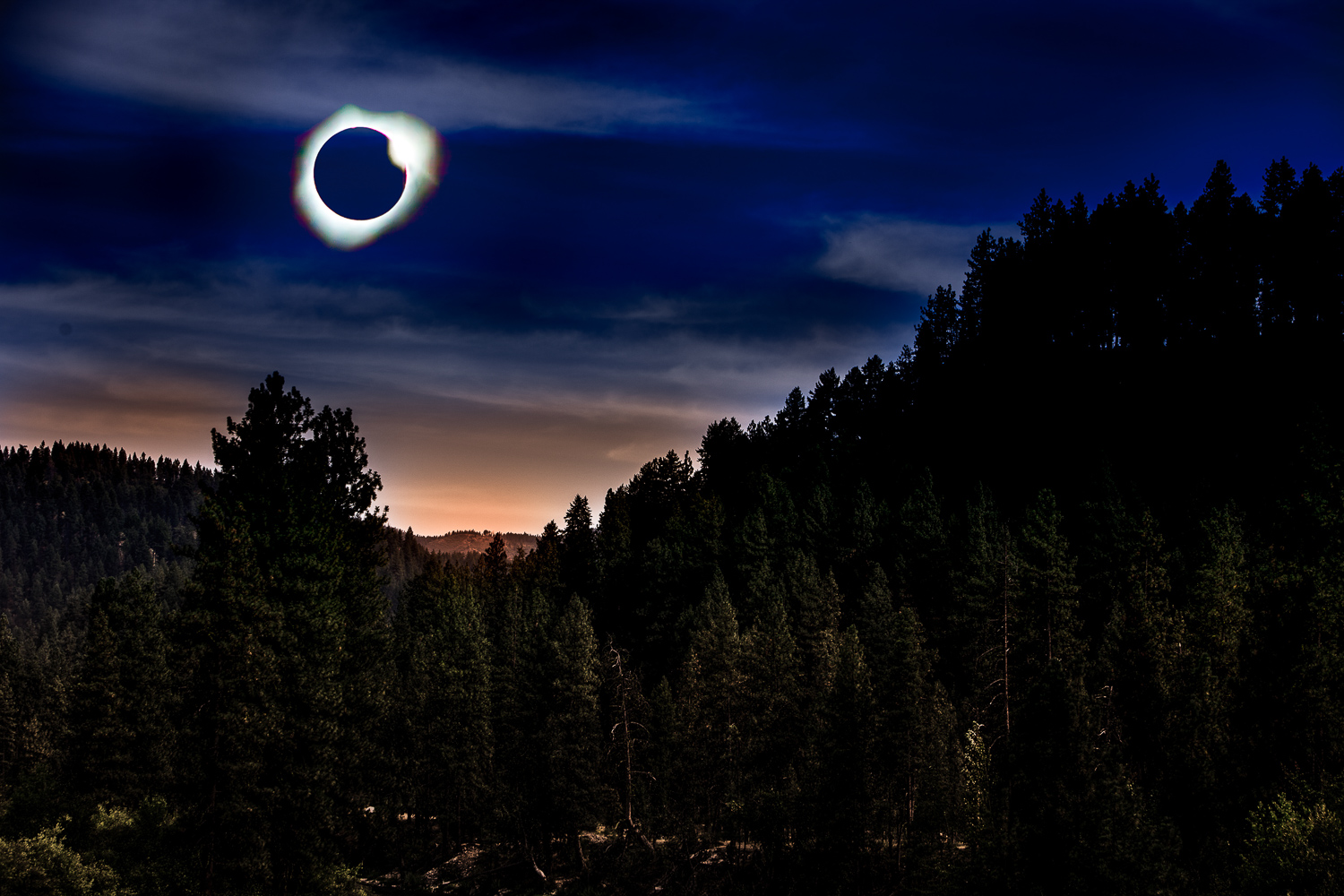 Image: I made a shot of the forest near Crouch, Idaho the day before the eclipse. The next day I cap...