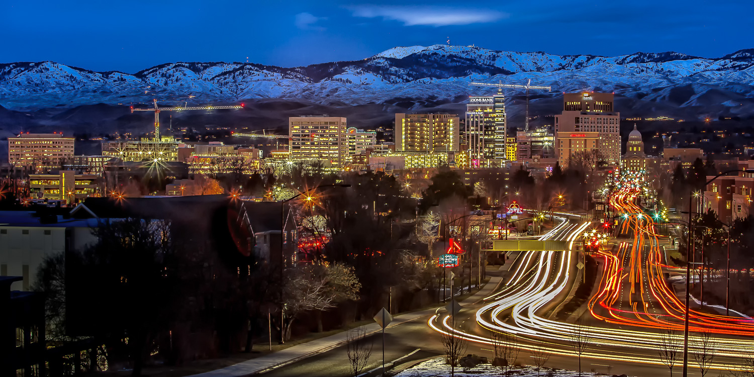 """Rush Hour - Boise, Idaho"" - Lights that move during a long exposure will create light trails. This is a type of light painting, just not the kind we'll discuss in this article."