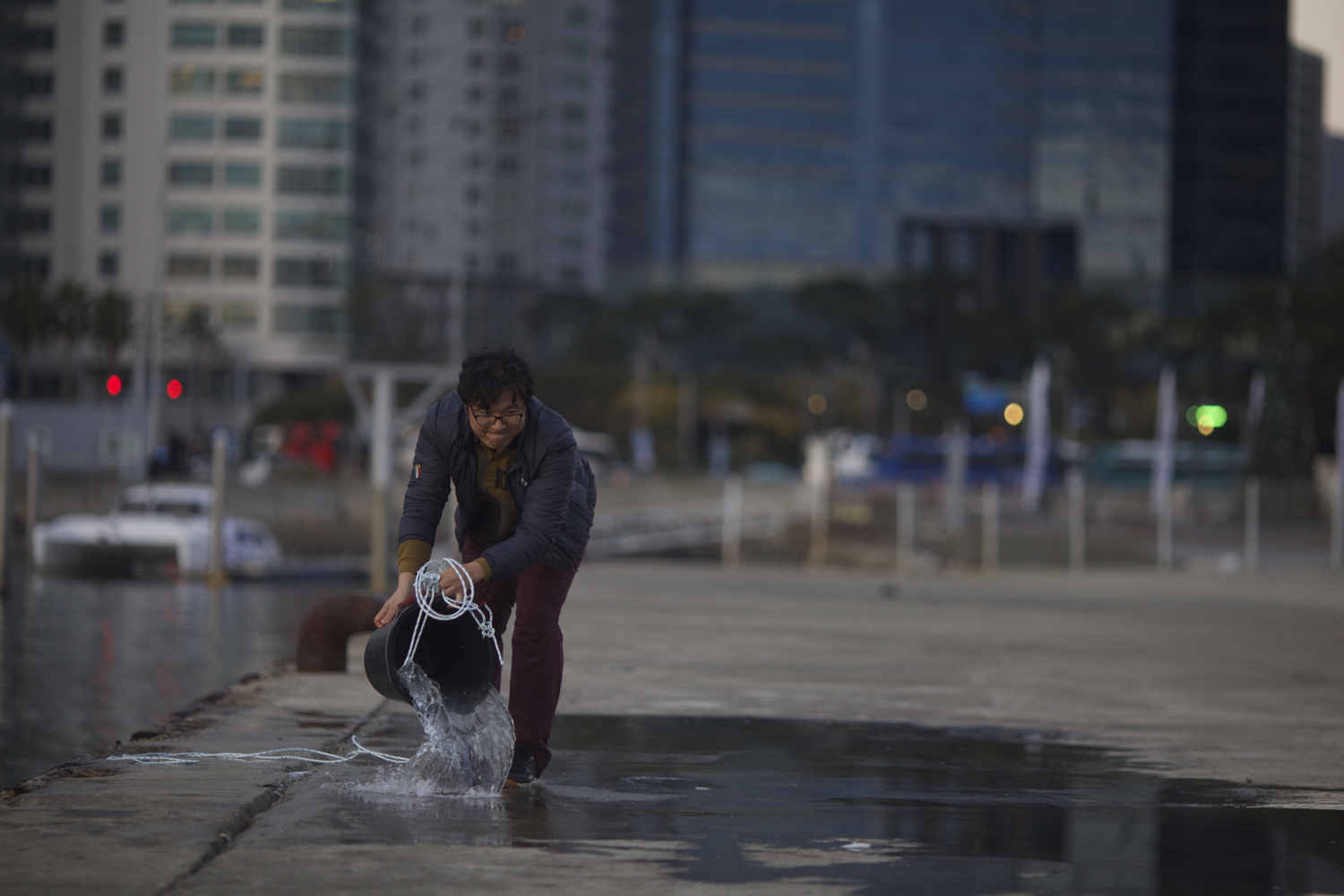 Image: In this photo, the man is preparing a reflection puddle.