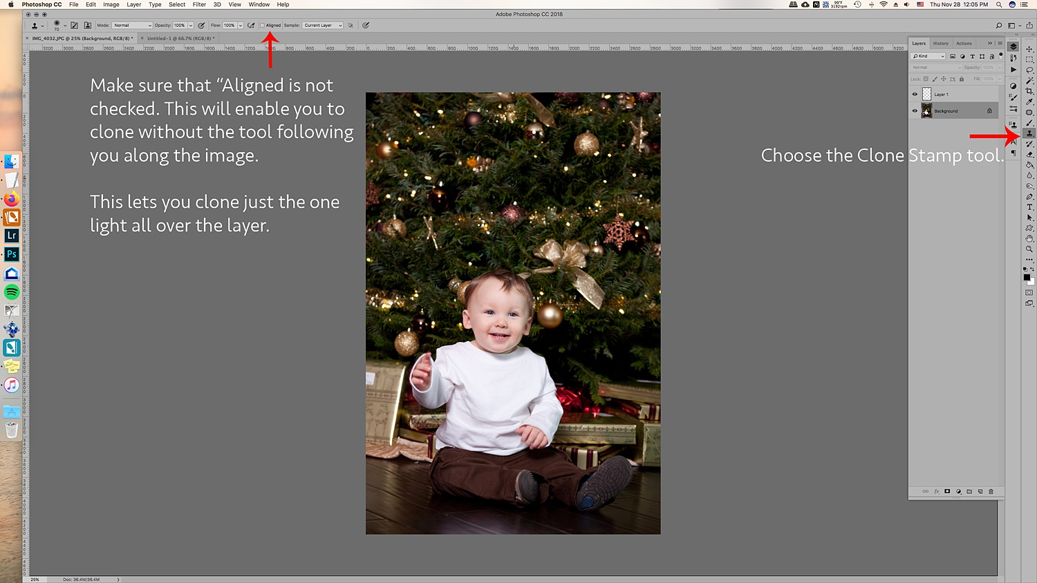 How to Create Twinkle Lights for Christmas Tree Portraits in Photoshop