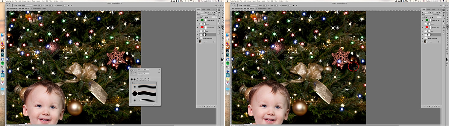 Image: Using a mask on the layer can help you to take out unwanted twinkle lights.