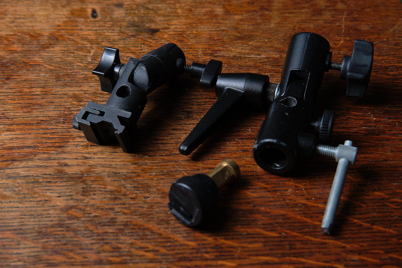 Umbrella brackets for off camera flash photography