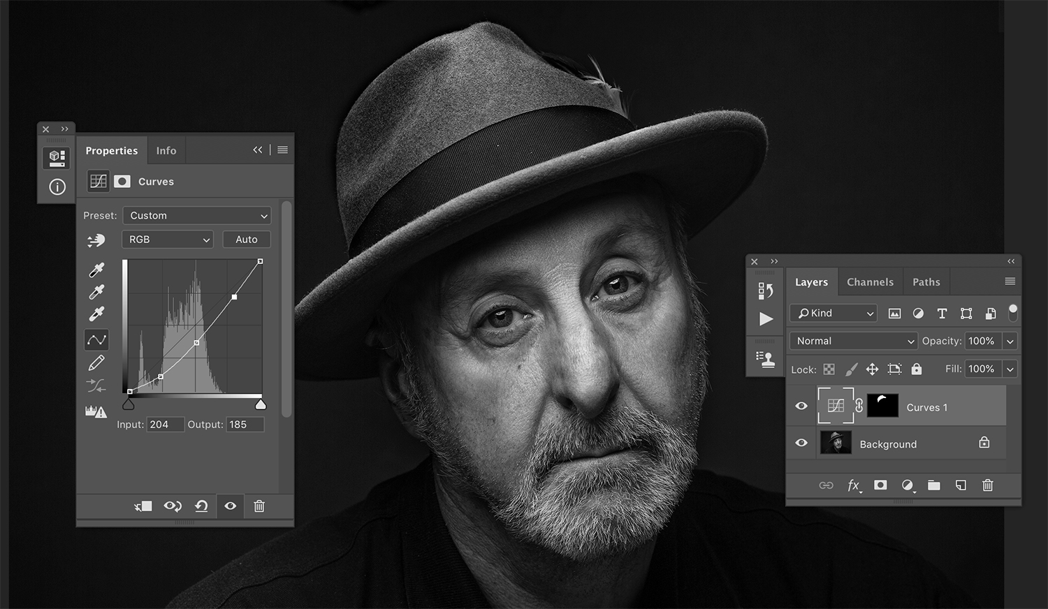 Using layer masks in processing black and white images