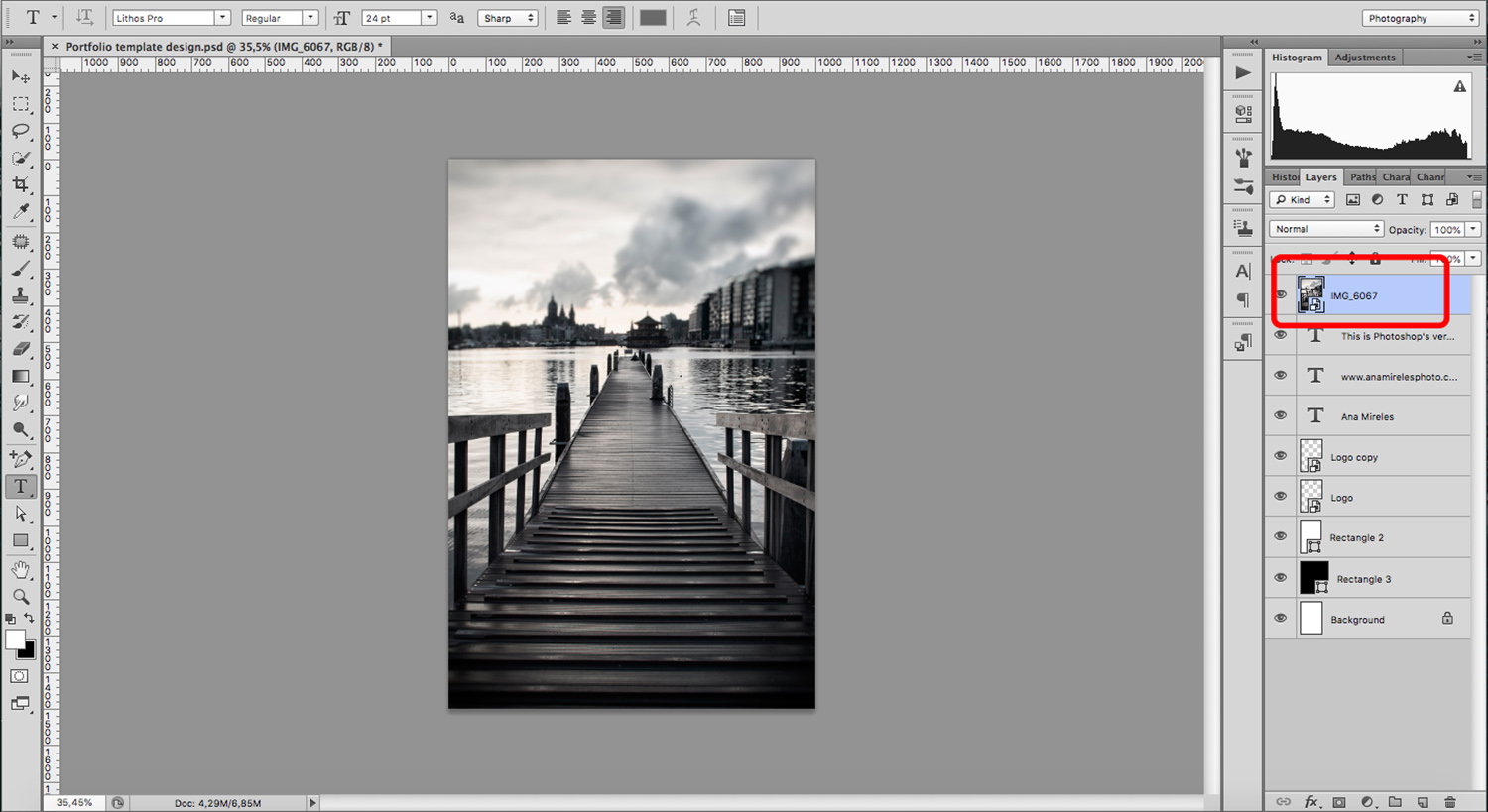 create a portfolio template for your photography
