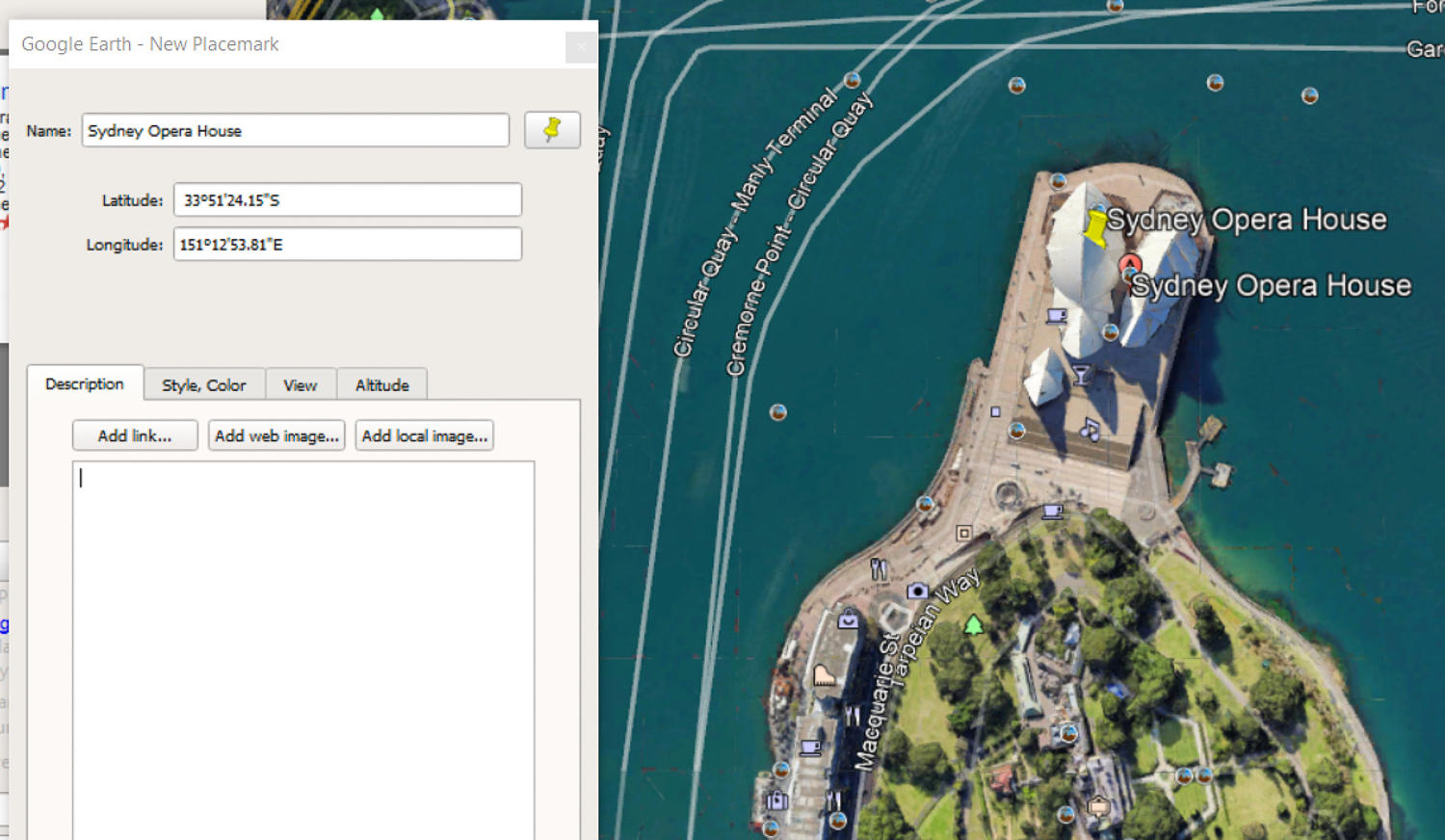 Sydney Opera House GPS coordinates in Google Earth