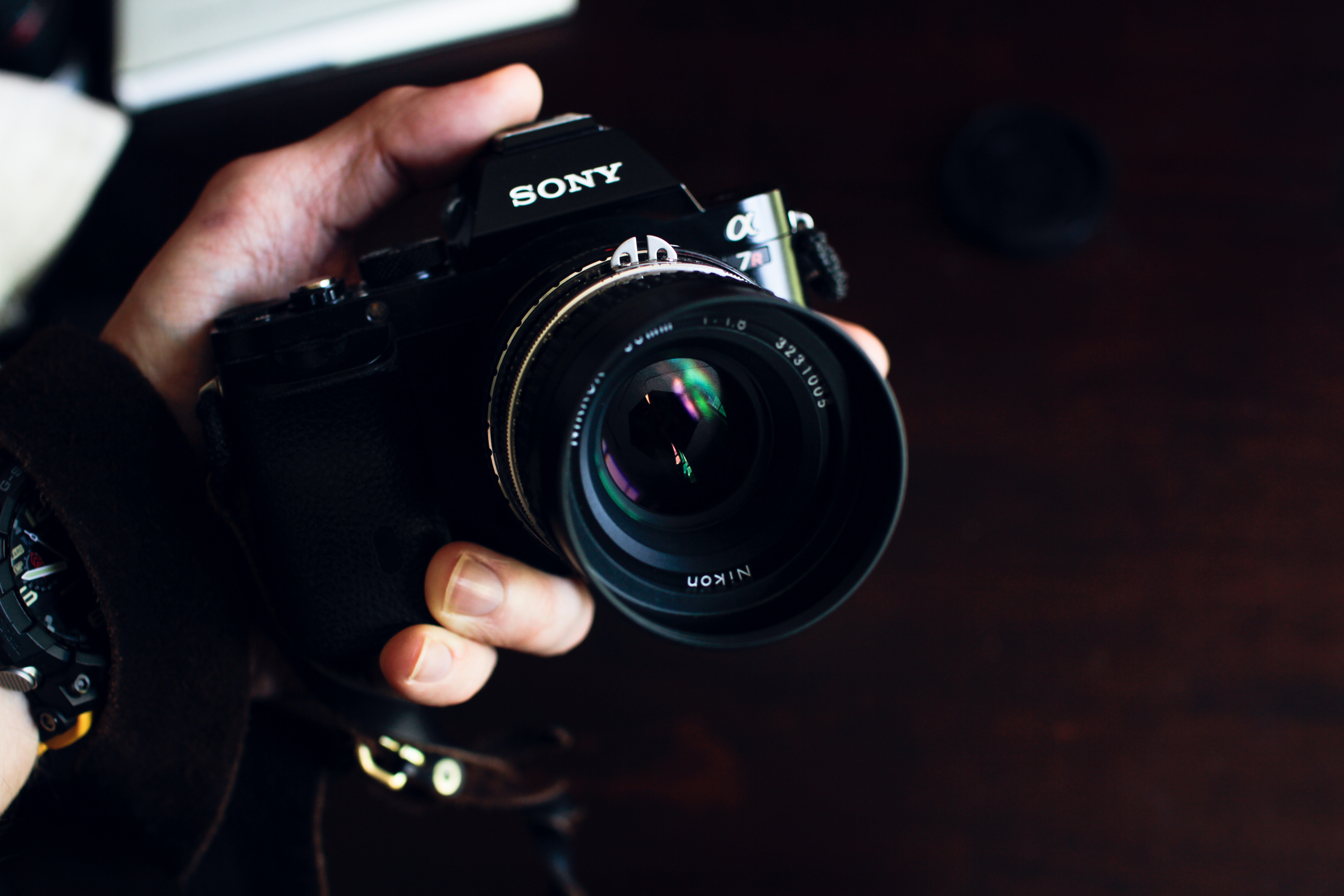 Vintage Nikkor 50mm lens mounted to Sony A7R