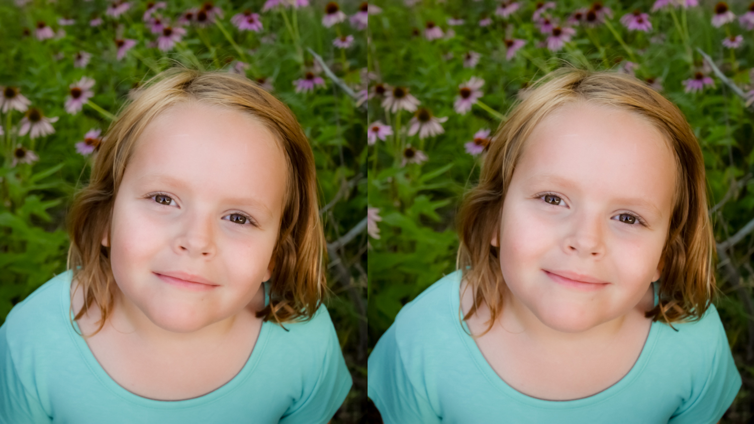 Before and after editing a head and shoulders portrait