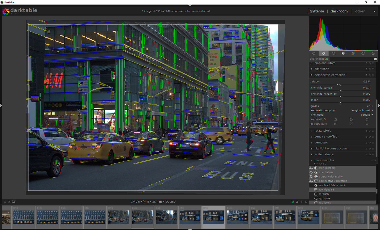 Perspective correction in Darktable - get structure.