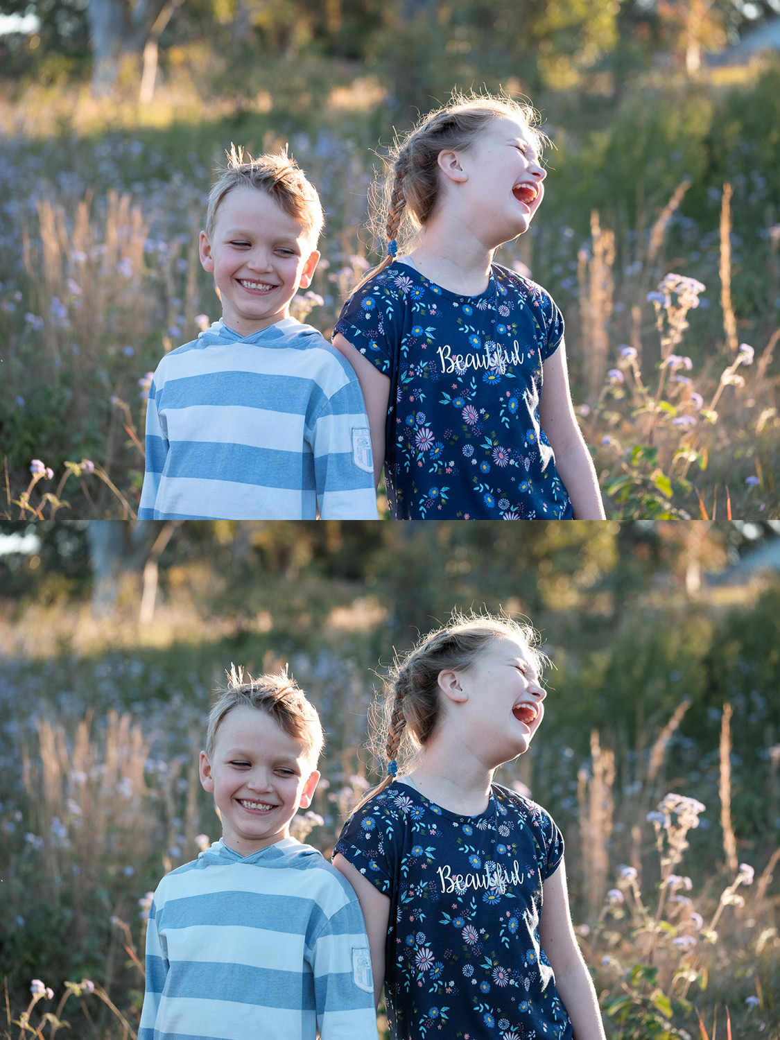 Image: Top: Kids in a filed RAW file. Bottom: Classic Chrome JPG.