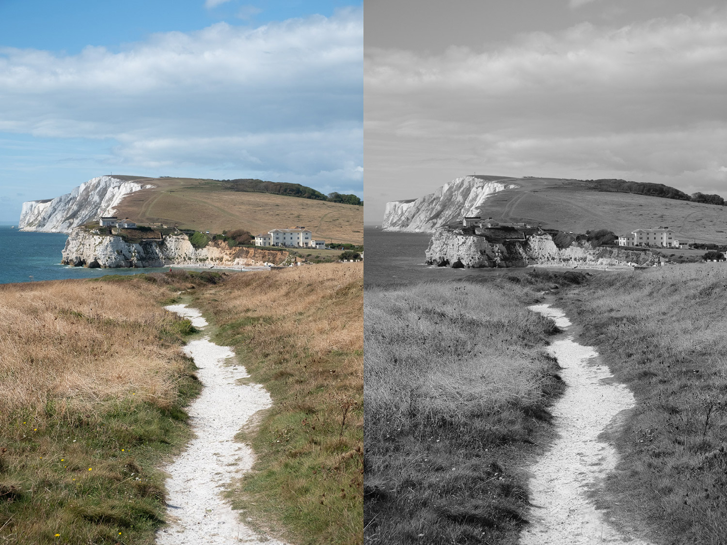 Image: Left: Isle of Wight RAW file. Right: Acros JPG with the green filter.