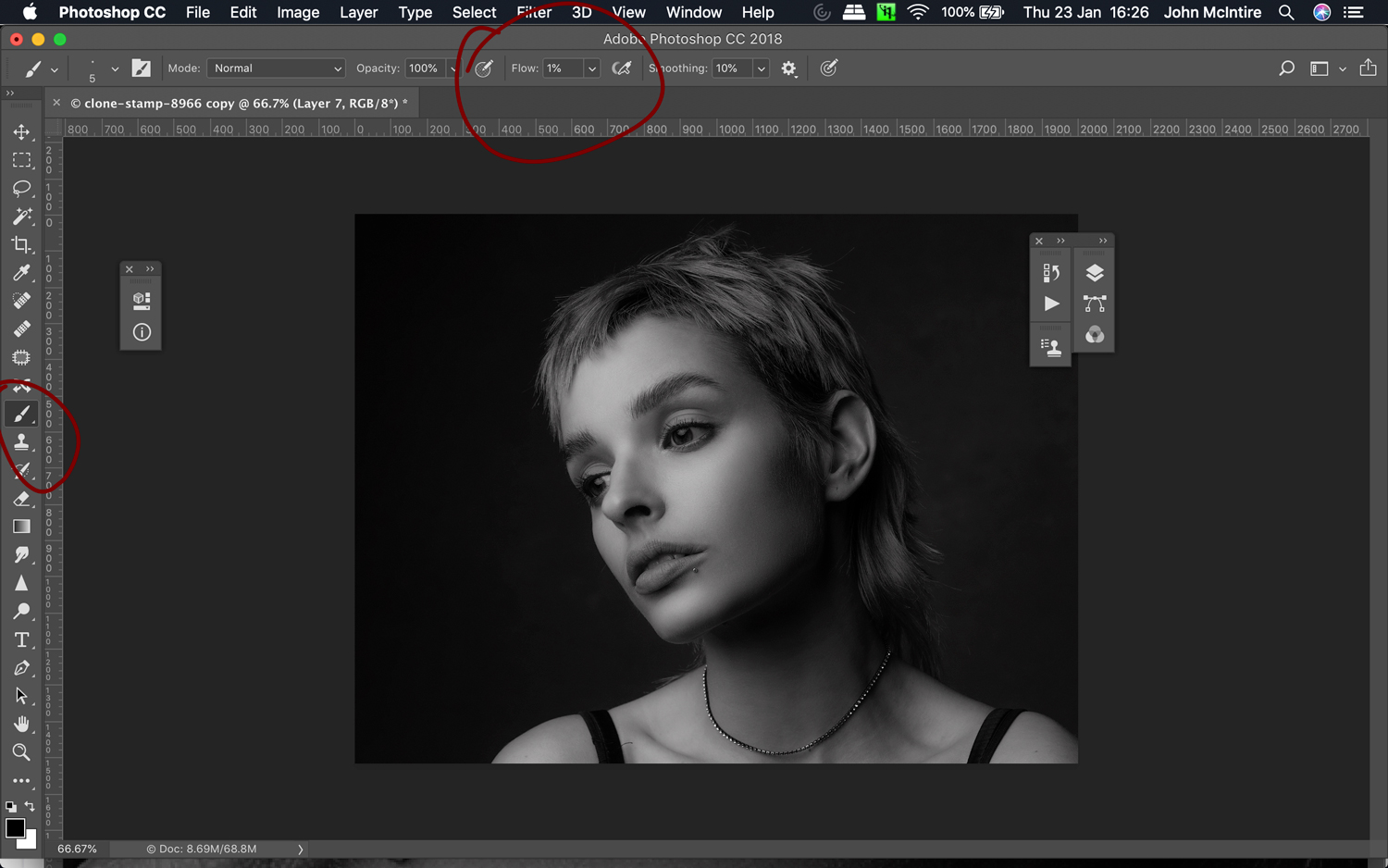 Dodging and burning for skin retouching in Photoshop.